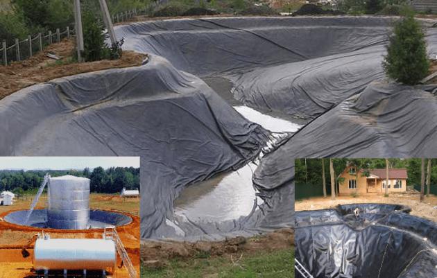 Монтаж геомембраны и геотекстиля для пруда