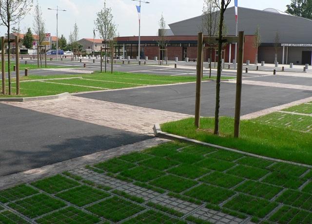Обустройство паркинга с травяным покрытием