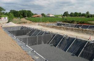 Подача воды геомембрана